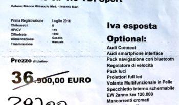 AUDI A3 SPB 1.6 TDI SPORT KM0 completo